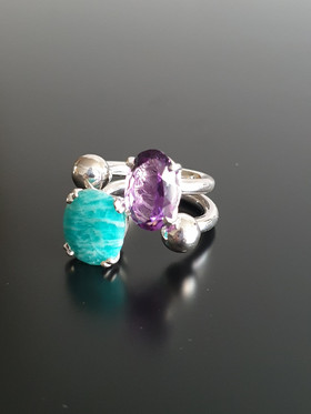 bague amethyste, bague amazonite