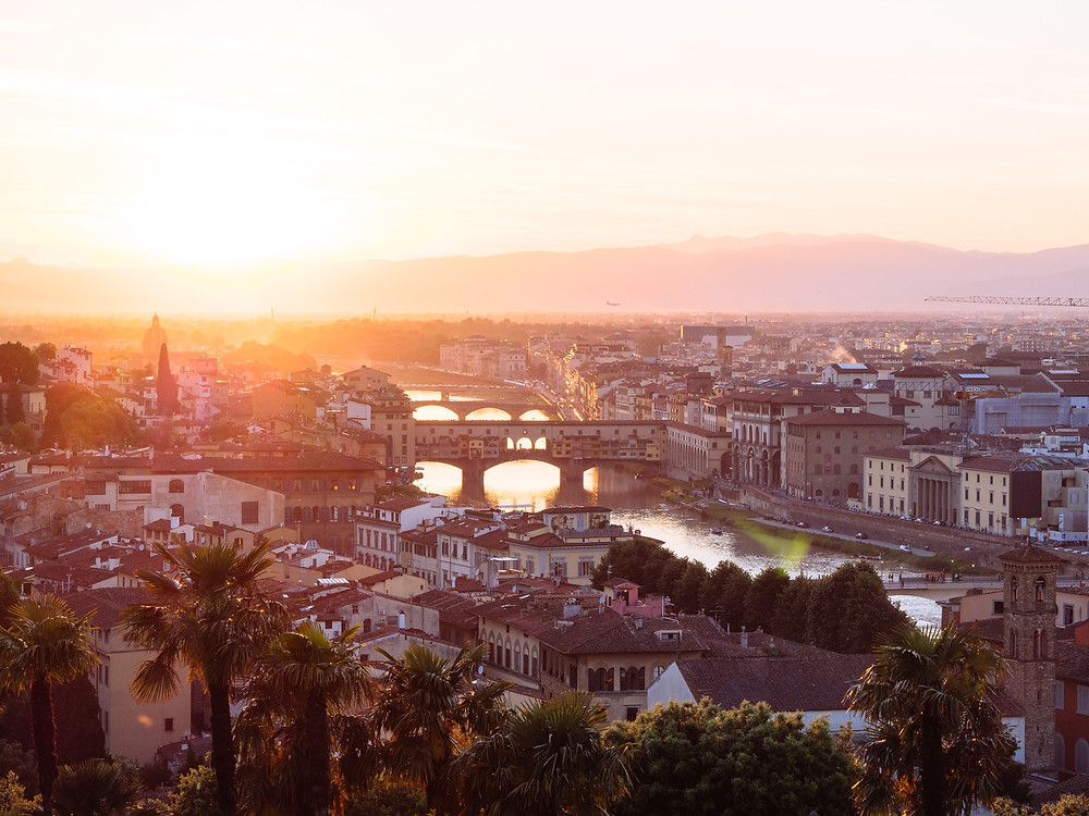The sun over Florence, Italy
