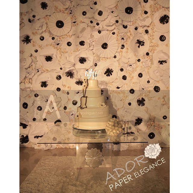 20 ft by 12 ft backdrop in ⚪️⚫️⚪️ color scheme #floralbackdrop #paperflowers #adoropaper #adoropaper