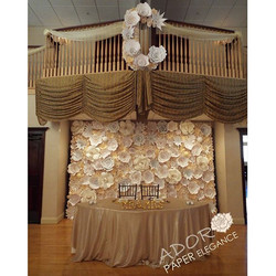Before our creation was uplit _cascadeweddings #floralbackdrop #paperflowers #adoropaper #adoropaper