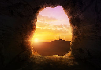 Empty tomb with three crosses on a hill
