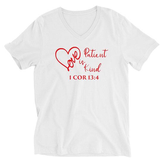 WTGA - 1 Cor 13:4 -Unisex Short Sleeve V-Neck T-Shirt