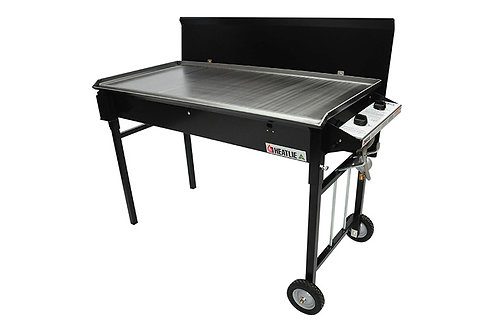 BBQ – 4 Burner Flat plate Stand on wheels inc Gas