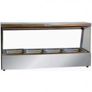 Bain Marie 4 Tray glass sided with lamps
