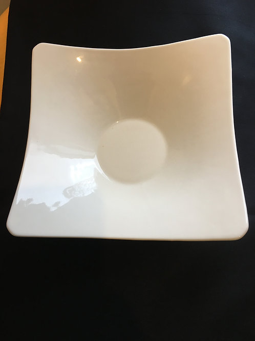 Bowl Serving White Square Curved