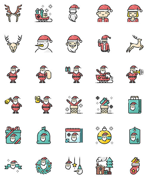 Christmas Santa Claus Filled Outline Icons Set - Extended