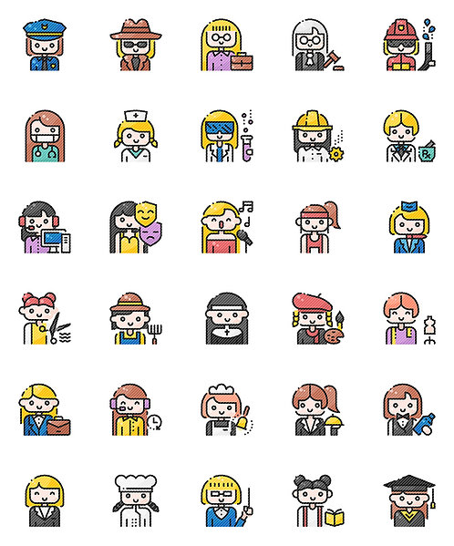 Female Professionals Filled Outline Icons Set