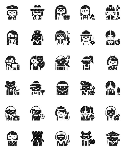 Female Professionals Glyph Icons Set - Extended