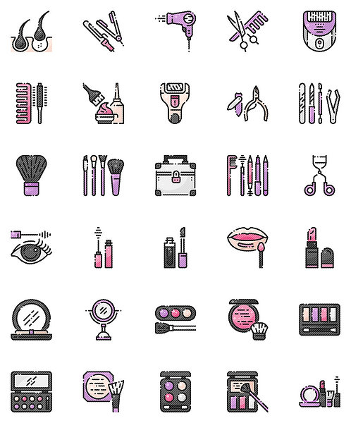 Hair And Makeup Filled Outline Icons Set