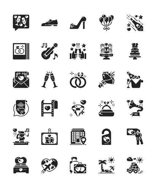 Wedding V2 Glyph Icons Set - Extended