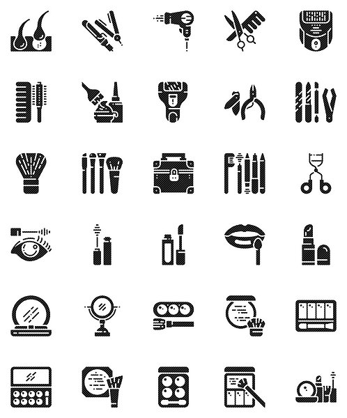 Hair And Makeup Glyph Icons Set - Extended