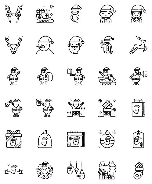 Christmas  Santa Claus Outline Icons Set-Extended