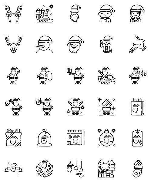 Christmas  Santa Claus Outline Icons Set