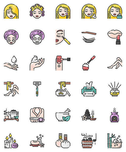 Beauty & Spa Filled Outline Icons Set