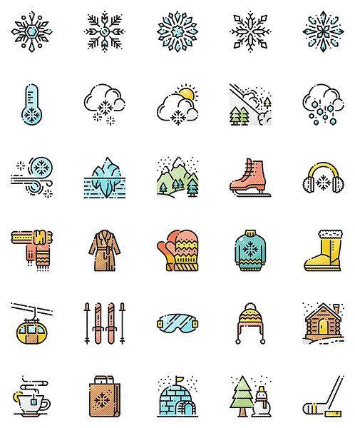 Winter Snow Filled Outline Icons Set - Extended