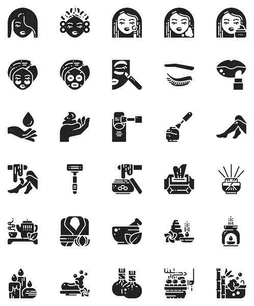 Beauty & Spa Glyph Icons Set - Extended