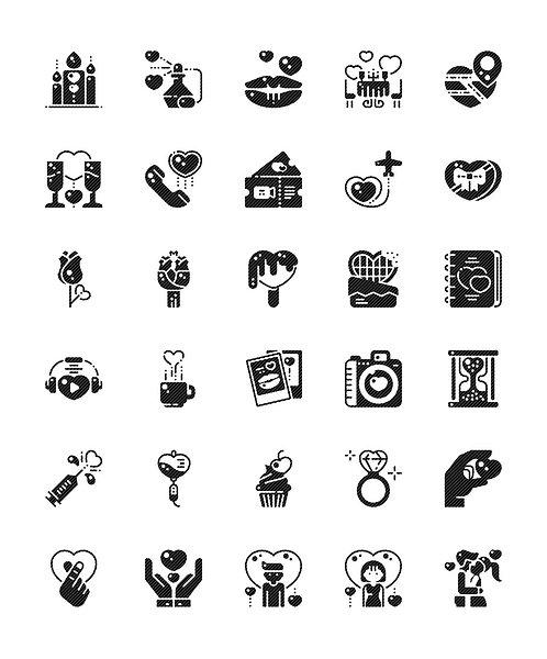 Romantic Love Glyph Icons Set