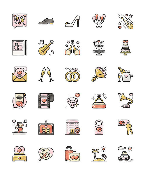 Wedding V2 Filled Outline Icons Set