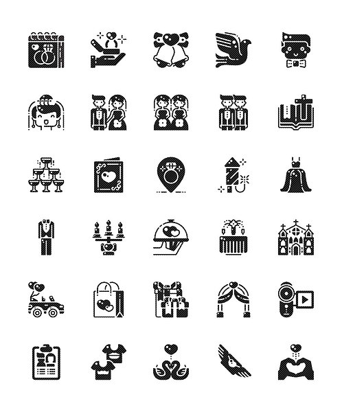 Wedding V1 Glyph Icons Set