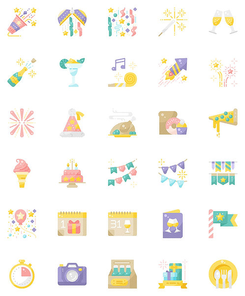 New Year Flat Icons Set - Extended