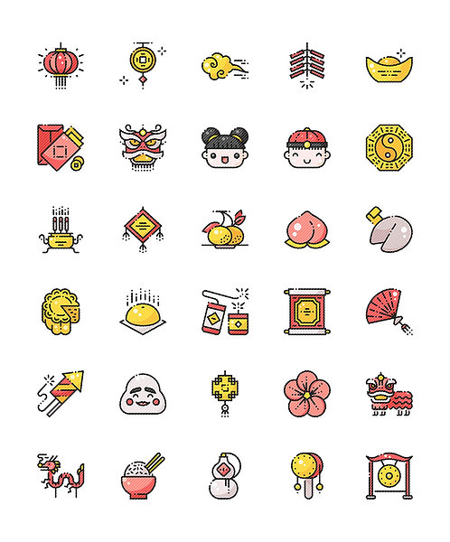 Chinese New Year Filled Outline Icons Set - Extended