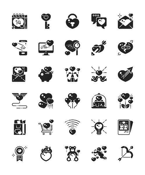 Love Valentine's Day Glyph Icons Set