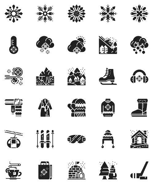 Winter Snow Glyph Icons Set