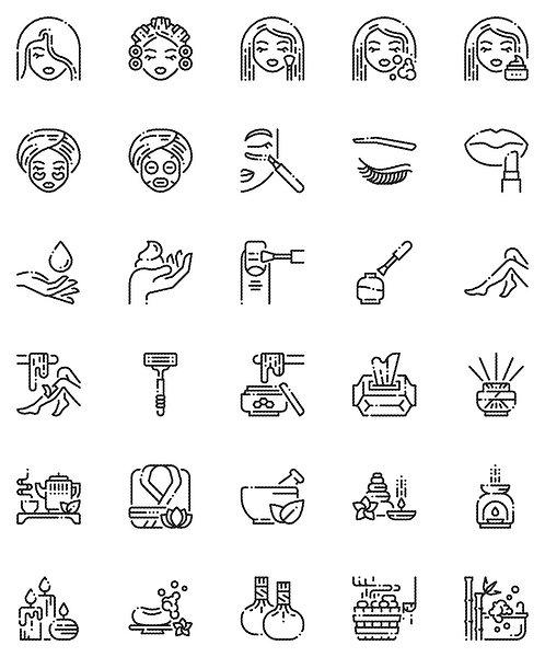 Beauty & Spa Outline Icons Set