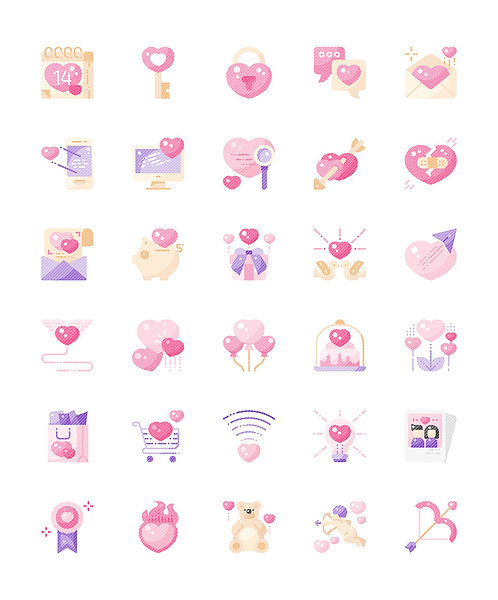Love Valentine's Day Flat Icons Set - Extended
