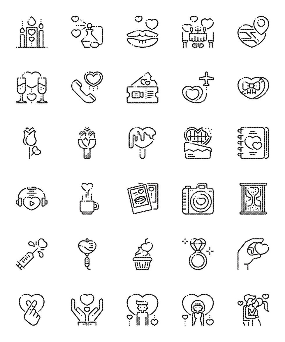 Romantic Love Valentine's Day Outline Icons