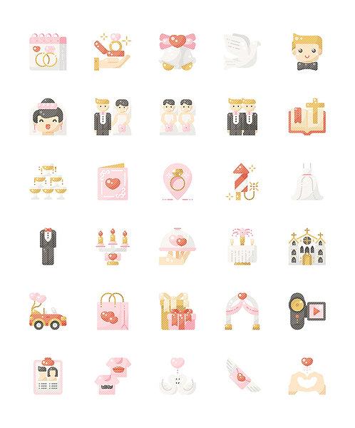 Wedding V1 Flat Icons Set