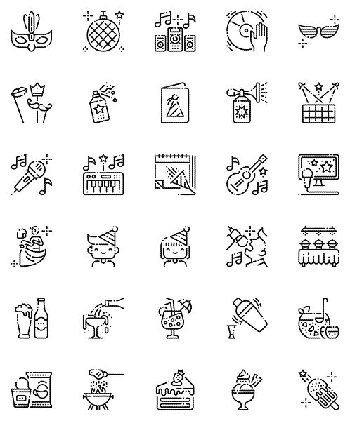 Party Celebration Outline Icons Set-Extended