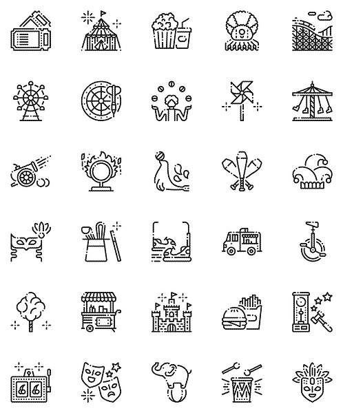 Carnival Outline Icons Set-Extended