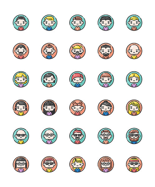 Avatar Filled Outline Icons Set