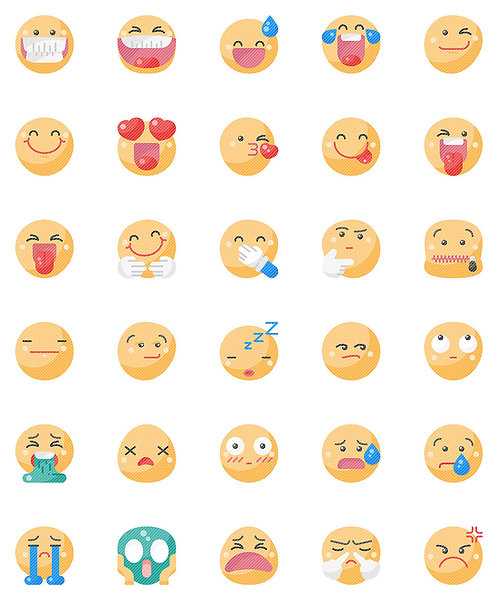 Smileys Flat Icons Set - Extended
