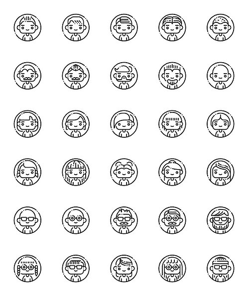 Avatar Outline Icons Set-Extended