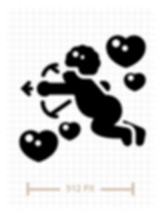 Cupid Glyph Icon Illustration