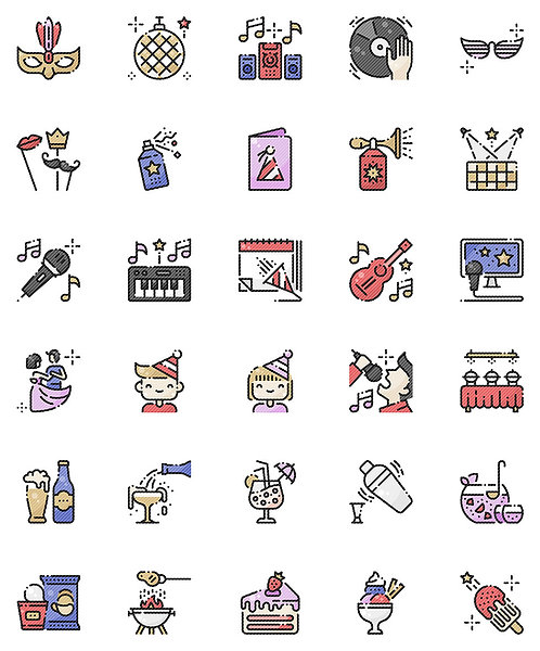Party Celebration Filled Outline Icons Set - Extended