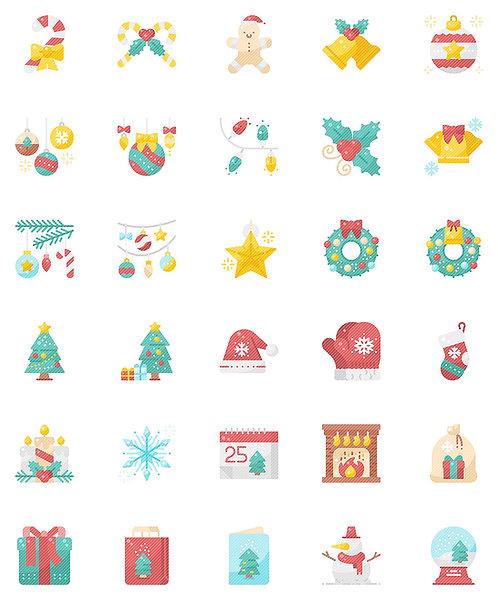 Christmas Decorations Flat Icons Set