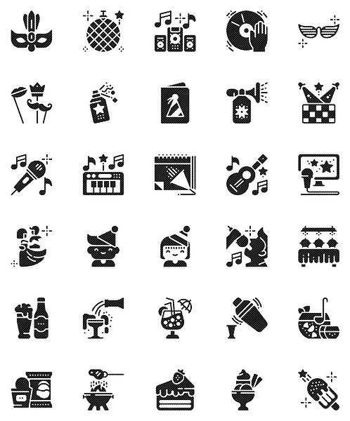Party Celebration Glyph Icons Set - Extended