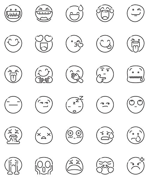Smileys Outline Icons Set
