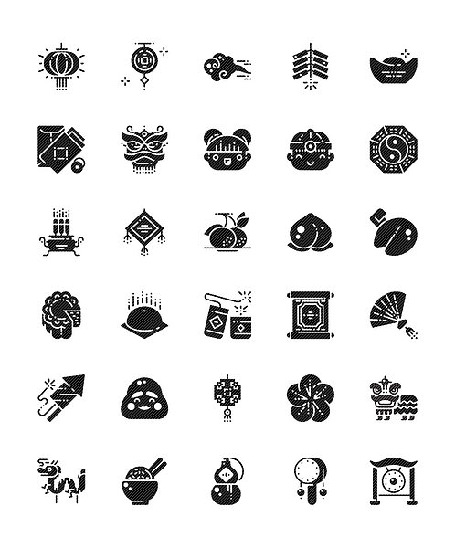 Chinese New Year Glyph Icons Set - Extended