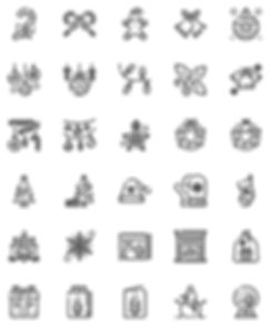 Christmas Decoration Outline Icons Set