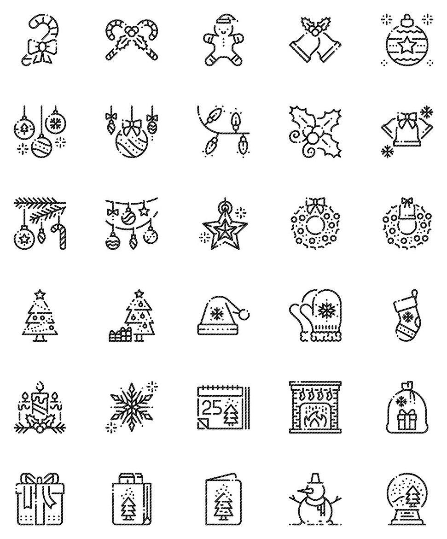 Christmas Decoration Outline Icons Set