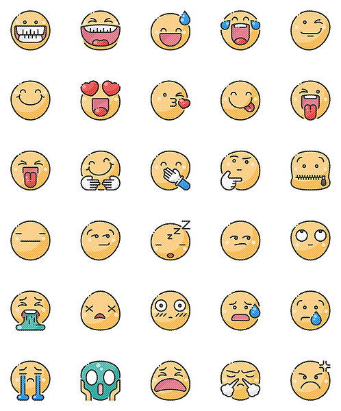 Smileys Filled Outline Icons Set-Extended