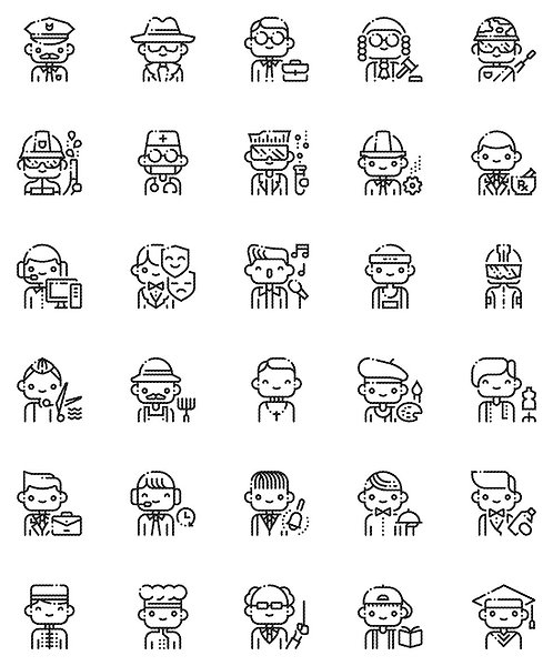 Male Professional Outline Icons Set-Extended