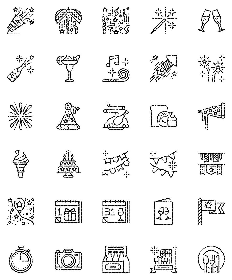 New Year Outline Icons Set