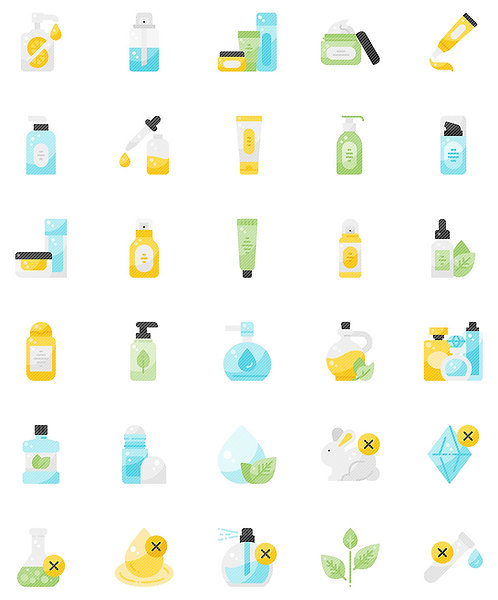 Beauty Skin Care Flat Icons Set - Extended