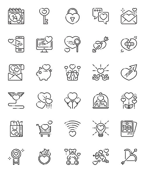 Love Valentine's Day Outline Icons Set-Extended