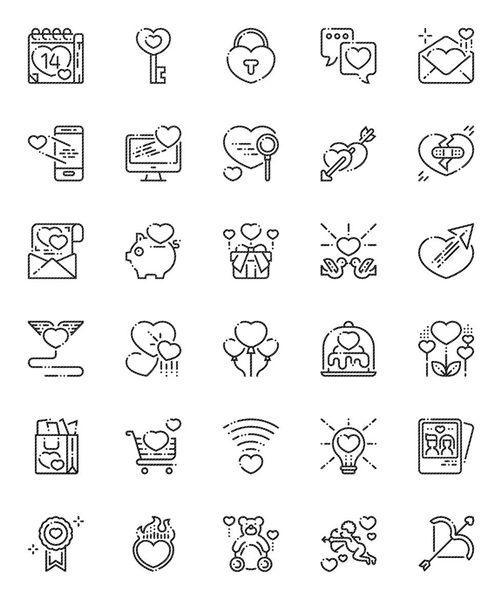 Love Valentine's Day Outline Icons